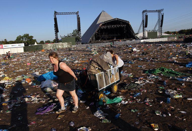 Op het veld voor het Pyramid-stage op Glastonbury kunnen 100.000 mensen terecht. Beeld AFP