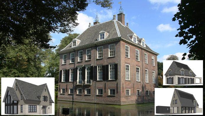 Kasteel Rijnhuizen in Nieuwegein. in de foto gemonteerd zijn enkele types woningen die elders op het landgoed gebouwd worden.