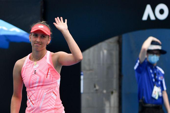 Elise Mertens viert de overwinning op Zhu Lin.