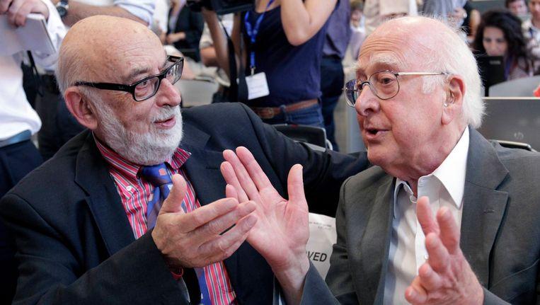 François Engert en Peter Higgs in 2012. Beeld REUTERS