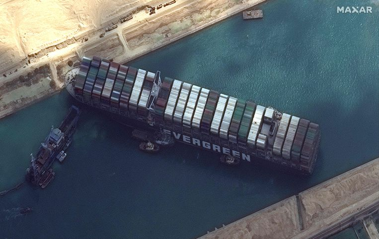 Het schip is maar liefst 400 meter lang. Beeld AFP
