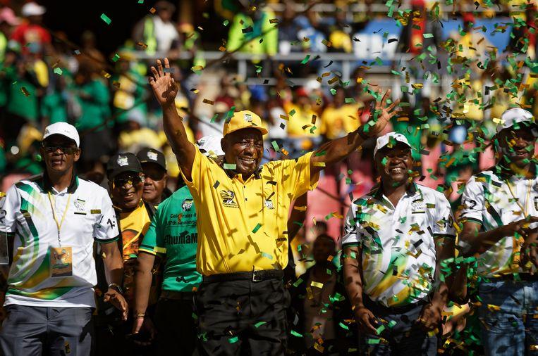 President Cyril Ramaphosa op een ANC-meeting in Johannesburg. Beeld AP