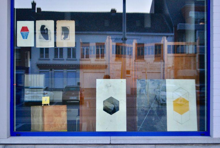 Ook de Zelzaatse Ilka Tillekaerts heeft haar eigen vitrine bij Drukkerij Geers in het centrum van Wachtebeke.