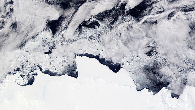 Satelietfoto van Nasa van de Zuidpool. Foto EPA Beeld