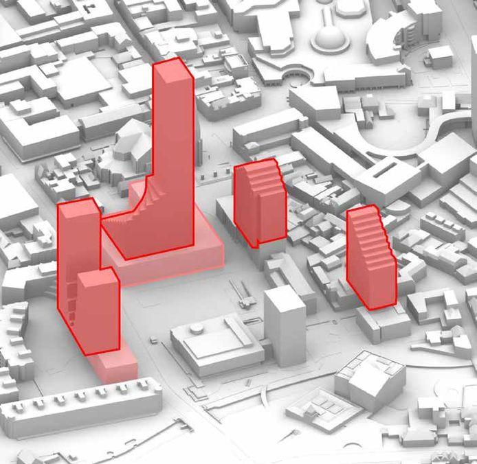 Grafische voorstelling van te bouwen torens rondom het stadhuis van Eindhoven. Dit is de gemiddelde variant met één toren van 160 meter.