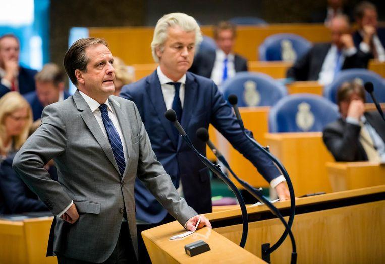 Alexander Pechtold (D66) en PVV-fractievoorzitter Geert Wilders. Beeld ANP