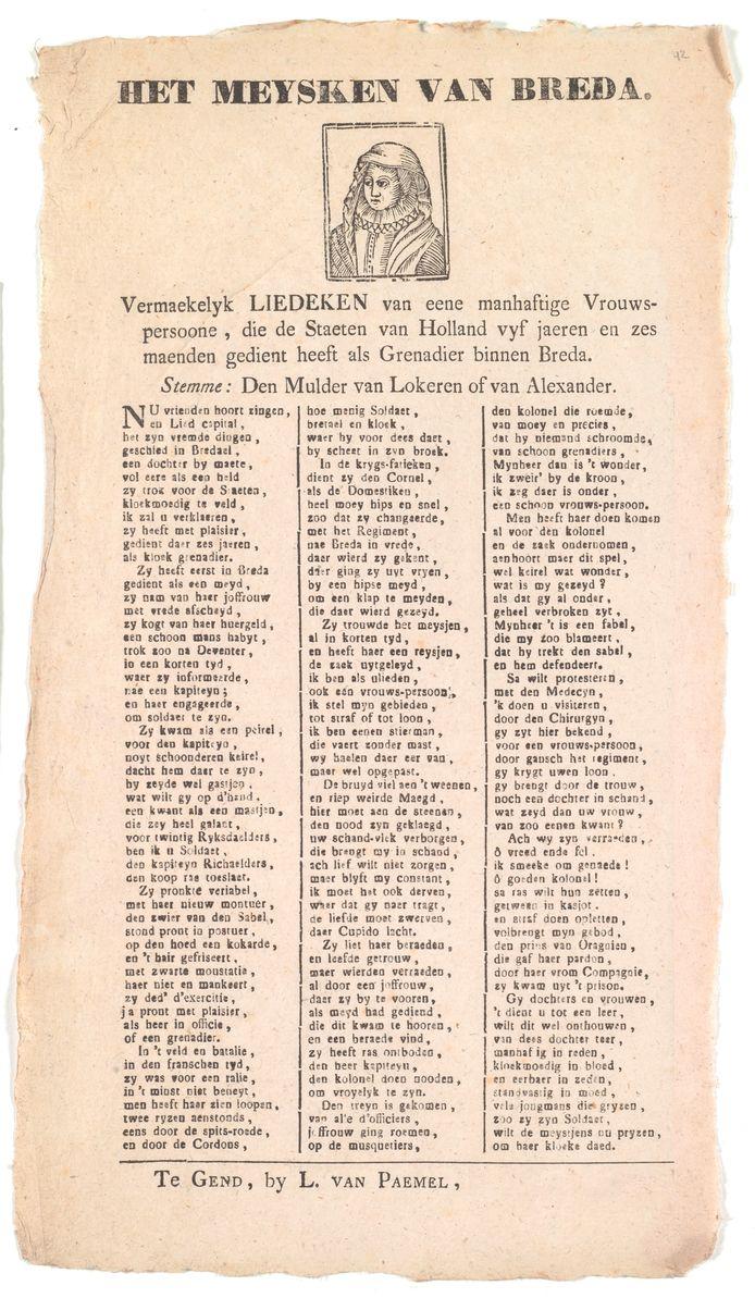 De tekst van het levenslied van Maria van Antwerpen. Of het portret boven de tekst Maria betreft, is niet duidelijk omdat er geen andere afbeeldingen van haar bekend zijn.