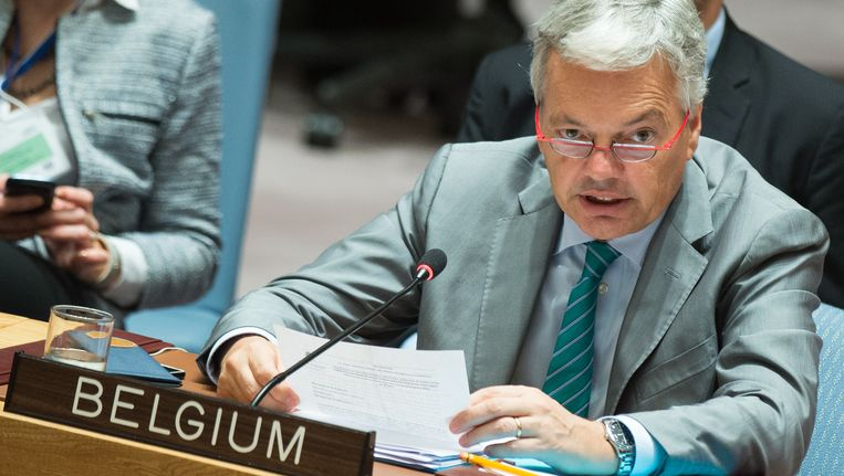 Archiefbeeld: Minister van Buitenlandse Zaken Didier Reynders in het VN-gebouw in New York. Beeld BELGA