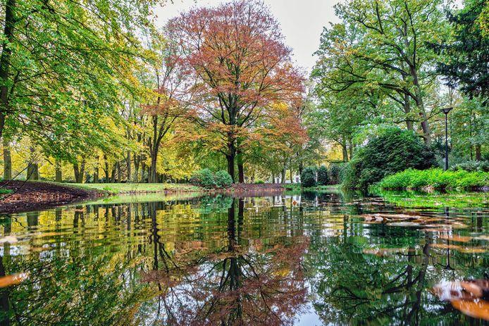 Het Oosterhoutse Slotpark in herfstkleuren gehuld.