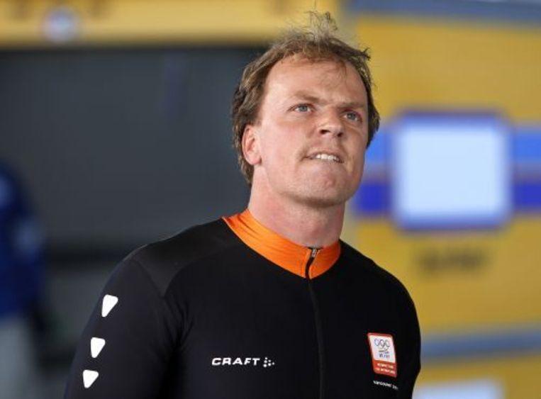 Edwin van Calker is teleurgesteld na afloop van de derde run van hem en remmer Sybren Jansma in Whistler tijdens de Olympische Spelen in Vancouver. ANP Beeld