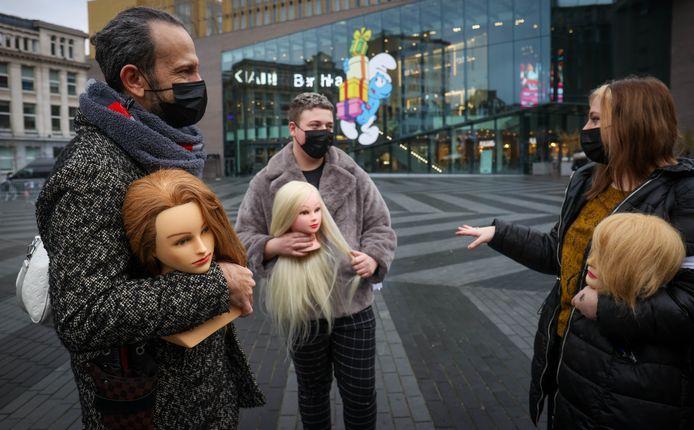 Les coiffeurs de Charleroi avaient manifesté sur la Place Verte le 2 décembre dernier.