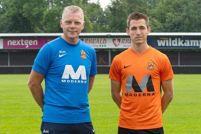 Joerie Church (rechts) hoopt dat hij komend seizoen veel speeltijd krijgt van trainer Bert van Hunenstijn bij HHC.