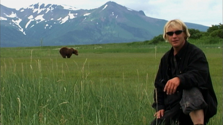 Berenknuffelaar Timothy Treadwell in Grizzly Man. Beeld