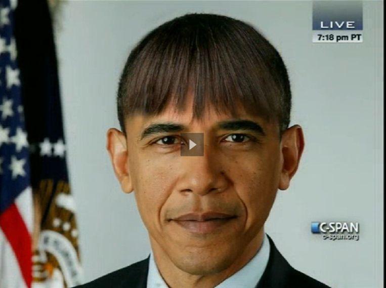 President Obama met zijn nieuwe kapsel. Beeld C-Span