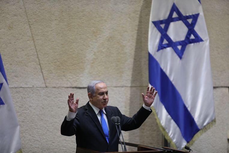 Premier Benjamin Netanyahu tijdens zijn laatste toespraak tot de Knesset. Beeld EPA