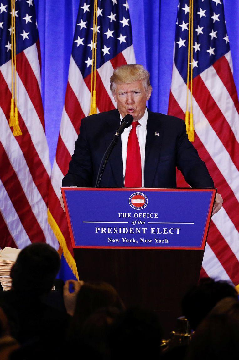 President-elect tijdens zijn persconferentie gisteren.  Beeld REUTERS