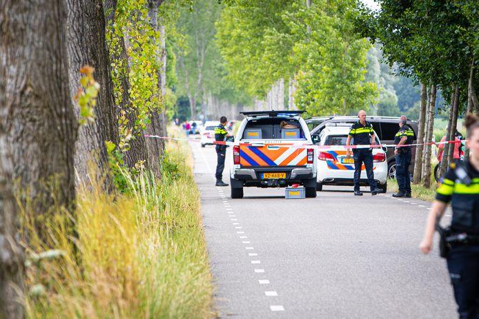 De vindplaats van het lichaam in Nijbroek. Het lichaam werd gevonden tijdens de zoektocht naar de vermiste Loes (18) uit Epe.