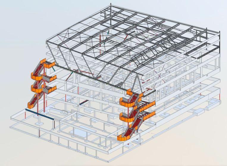Schets van hoe de constructie van de basisschool eruit zou moeten zien. Beeld RV