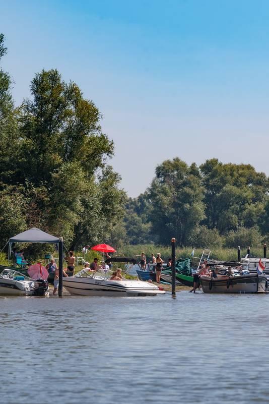 Drukte op een zomerse dag op de wateren van de Biesbosch.