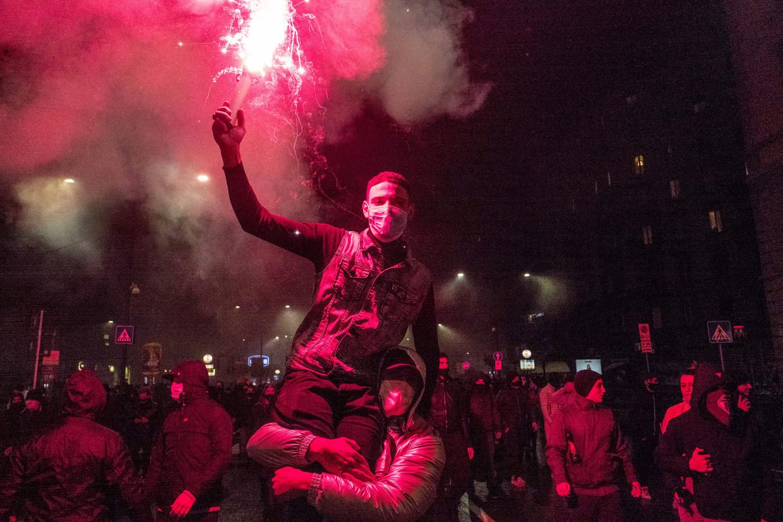 Protest in Milaan tegen coronamaatregelen.