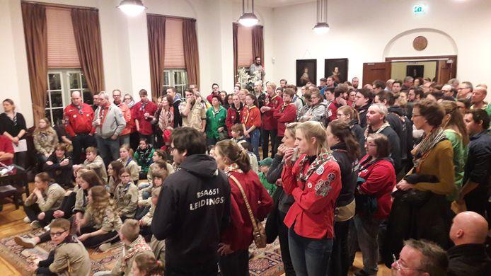 2018: Scoutingclubs in Breda bijeen in de trouwzaal op het stadhuis voor het debat over subsidie.