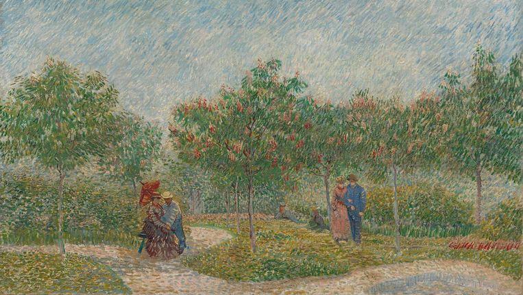 Tuin met geliefden: Place Saint-Pierre, Vincent van Gogh, mei 1887, Parijs. Beeld Maurice Tromp