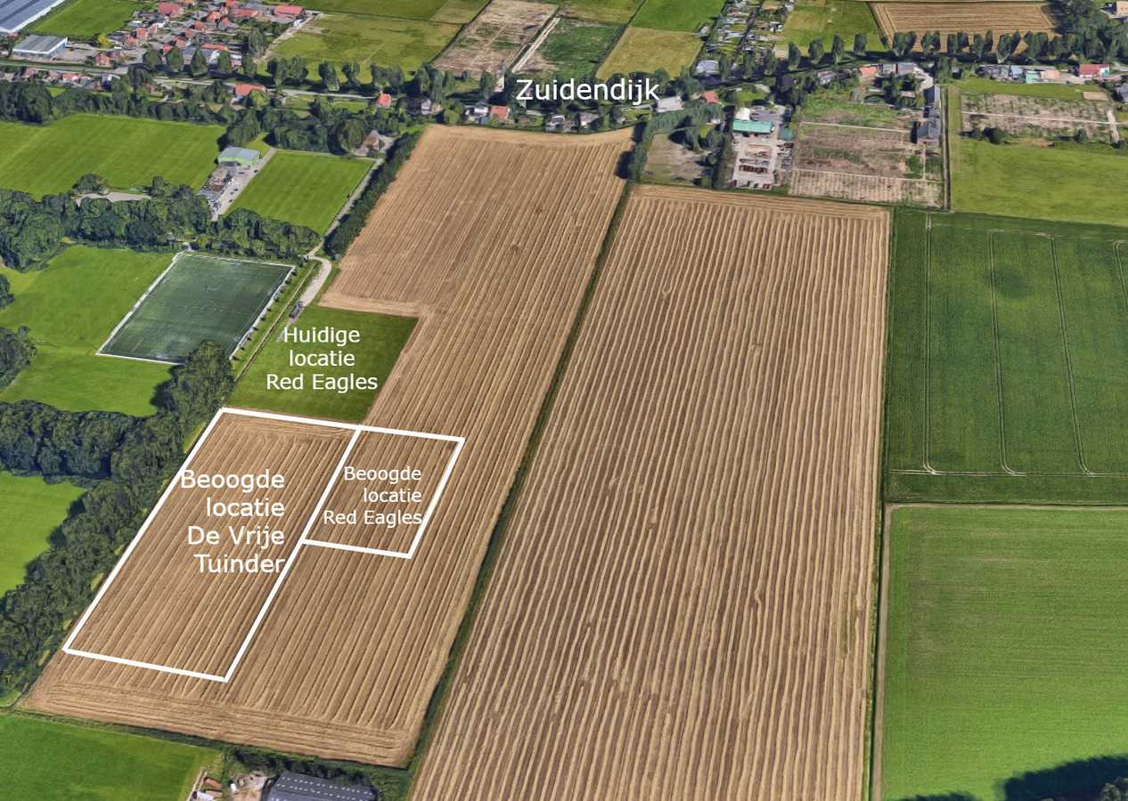 De bewoners van de Zuidendijk (boven) zijn ook nadat de locatie gewijzigd is niet blij met de komst van De Vrije Tuinder naar de polder. Afmetingen zijn niet precies op schaal.