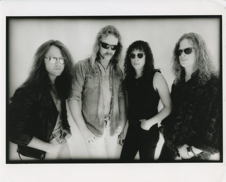 Metallica in 1991, met vanaf links drummer Lars Ulrich, zanger en gitarist James Hetfield, gitarist Kirk Hammett en bassist Jason Newsted. Beeld  Ross Halfin