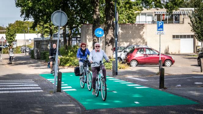 Felgroen fietspad en het advies om oogcontact te maken op gevaarlijke oversteekplaats in Helmond