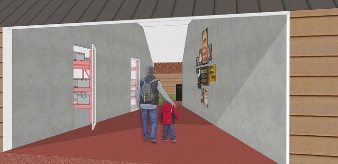 Zo zal het kijkdepot  en de doorgang van het nieuwe museum eruitzien.