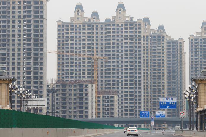 Onafgewerkte flatgebouwen van de Evergrande Group in de Chinese stad Luoyang.