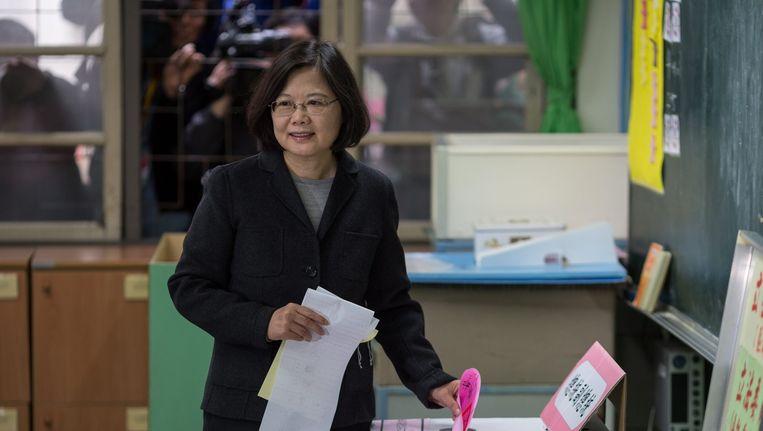 De DPP van Tsai Ing-wen wint de verkiezingen in Taiwan. Beeld anp