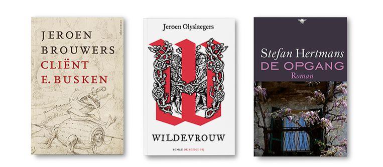 Van links naar rechts:  Cliënt E. Busken - Jeroen Brouwers,  Wildevrouw - Jeroen Olyslaegers,  De opgang - Stefan Hertmans Beeld Bookspot