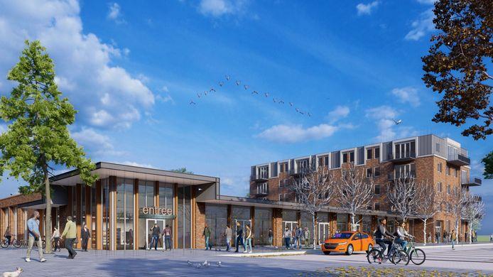 Een impressie van het nieuwe complex, pal naast de AH-supermarkt tegenover station Kampen-Zuid.