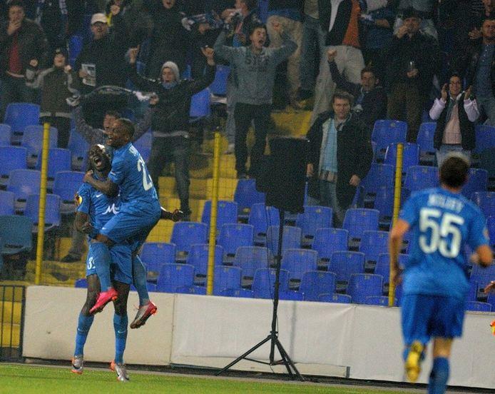 Slory (tweede van links) in actie voor Levski Sofia in de Europa League. FOTO EPA