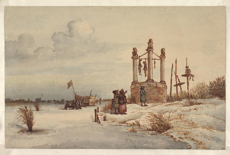 Wintergezicht aan de Volewijk, met enkele toeschouwers bij de galgenput (1816) van Gerrit Lamberts. De datering van het tafereel ligt tussen 1790 en 1795. Beeld Gerrit Lamberts / Stadsarchief