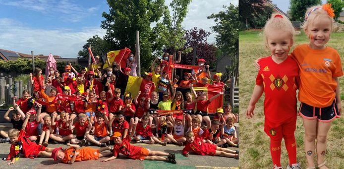 Links: veel rood en een flinke scheut oranje op Overslag, rechts: de Rode Duivels en Oranje verbroederen op een speelplaats in Zelzate.