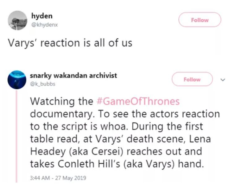 Reacties van fans.
