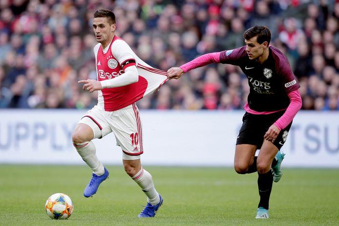 Beeld uit de eerdere ontmoeting tussen Ajax en FC Utrecht dit seizoen. Ajax won afgetekend met 4-0 in de Johan Cruijff Arena.