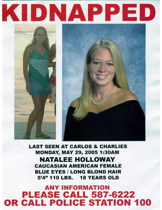 Het opsporingsbericht voor Natalee na haar verdwijning in 2005.