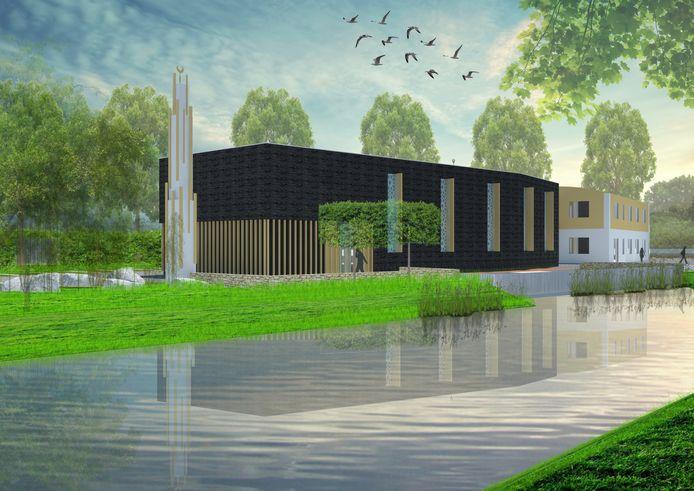 Ontwerp van de nieuwbouw van de moskee aan de Vlaanderenstraat in wijk Wisselaar.