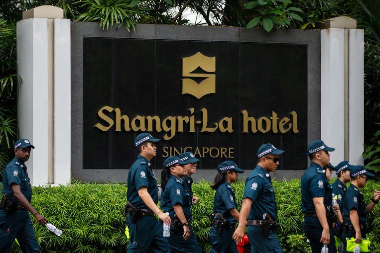 Het Shangri-La-hotel in Singapore, waar Trump zal slapen. Beeld AP