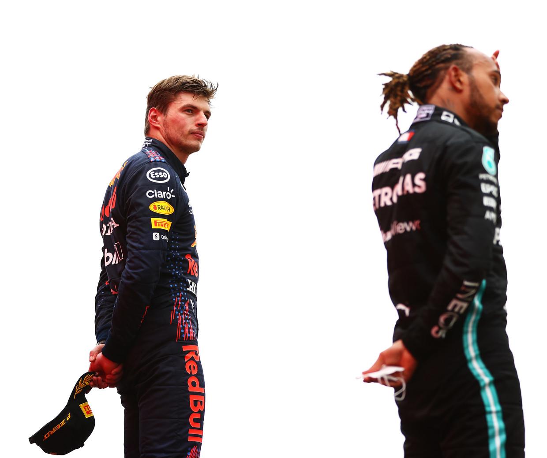 Winnaar Max Verstappen en nummer twee Lewis Hamilton op het podium van de Grand Prix van Frankrijk op 20 juni. Beeld Formula 1 via Getty Images