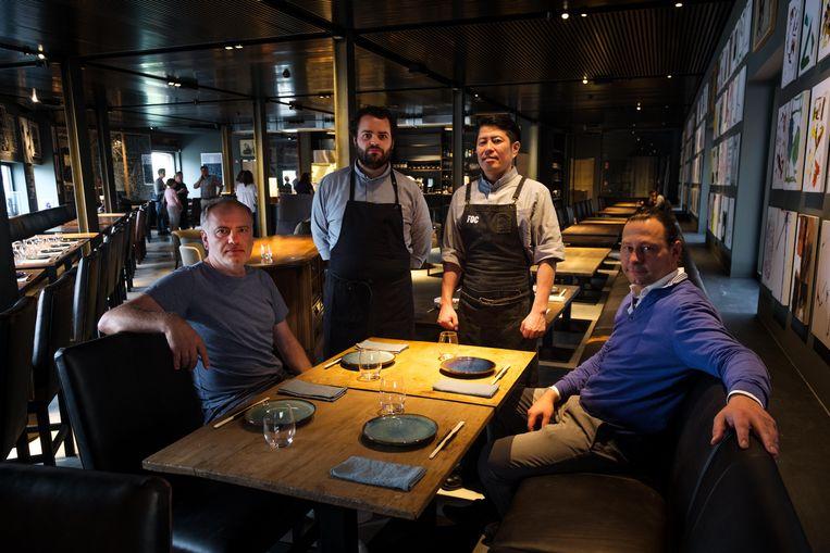 Het Japanse restaurant K, met Vinko Pepa, Roberto Vicente, Hideki Matsuhisa en Dick Vervoordt.