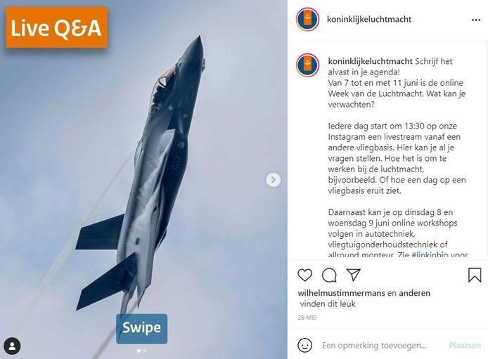 Via Instagram gaat de Koninklijke Luchtmacht op zoek naar nieuw personeel.