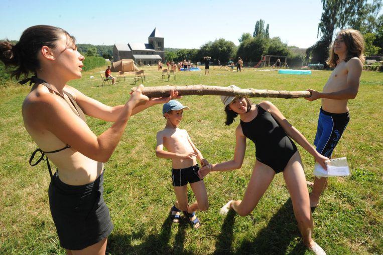 Scoutskamp in Ath. Beeld Belga