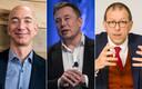 Jeff Bezos (links) is de rijkste man ter wereld, gevolgd door Elon Musk (midden). Een van de Belgen in de lijst met miljardairs is Luc Tack van Picanol (rechts).