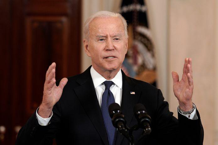 De Amerikaanse president Joe Biden tijdens zijn verklaring in het Witte Huis over het staakt-het-vuren tussen Israël en de Palestijnse groeperingen Hamas en Islamitische Jihad.