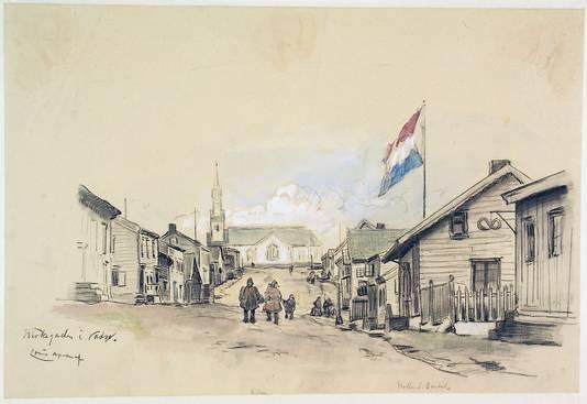 De Kirkgarden in Vardö, noord-Noorwegen, rechts waar de Nederlandse vlag wappert is de woning van de consul, uit de collectie van het Scheepvaartmuseum Amsterdam.