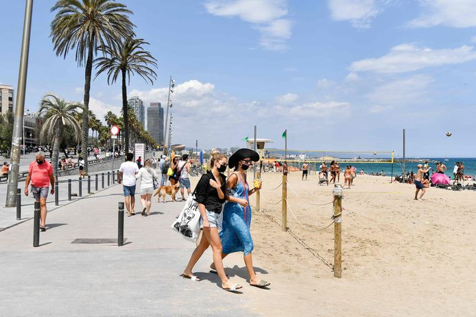 Het strand in Barcelona (Catalonië).